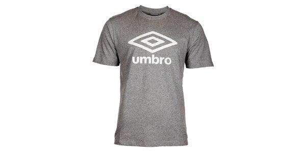 Pánske svetlo šedé melírované tričko Umbro s bielym logom
