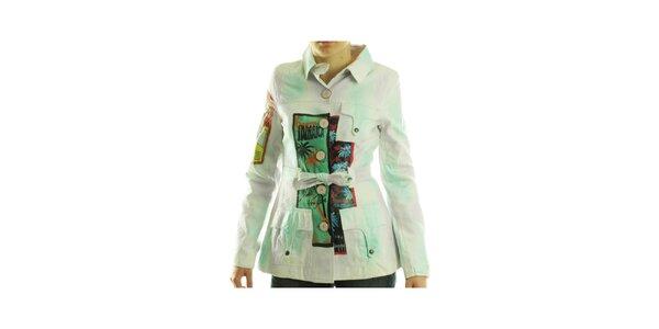 Dámsky biely kabátik Custo Barcelona s farebnou potlačou