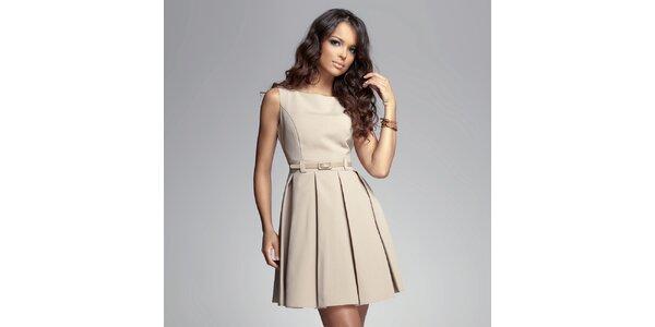 Dámske béžové šaty so skladanou sukňou Figl 659ff60ba55