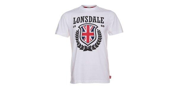 Pánske biele tričko Lonsdale s čiernou potlačou a anglickou vlajkou
