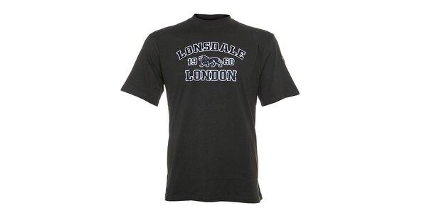 Pánske olivové tričko Lonsdale s bielo-zelenou potlačou