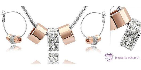 Elegantná súprava šperkov so Swarovski kryštálmi z pozláteného kovu