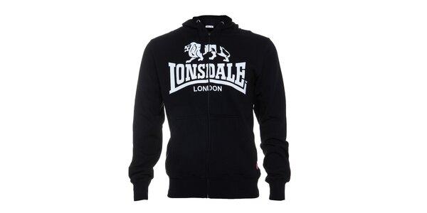 Pánska čierna mikina Lonsdale se zipem a bielou potlačou 1966163a809