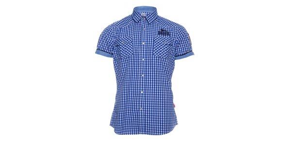 Pánska modrobiela kockovaná košeľa Lonsdale s krátkym rukávom