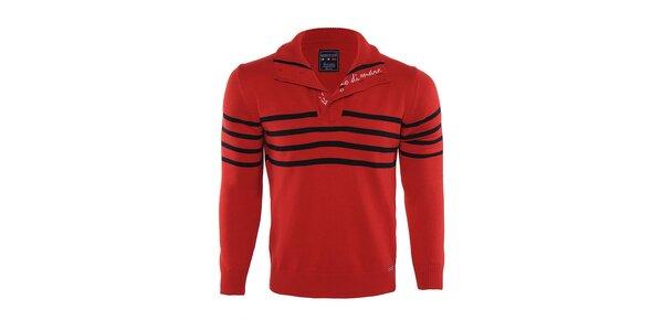 Pánsky červený sveter s čiernymi pruhmi Giorgio di Mare