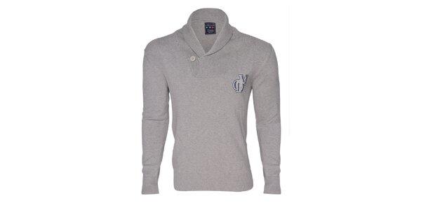 Pánsky šedý sveter s gombíkom Giorgio di Mare