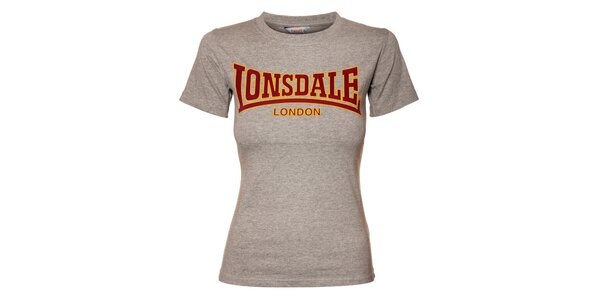 Dámske šedé melírované tričko Lonsdale s semišovou potlačou