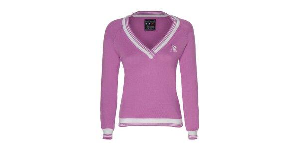 Dámsky ružový sveter s bielymi lemami Giorgio di Mare