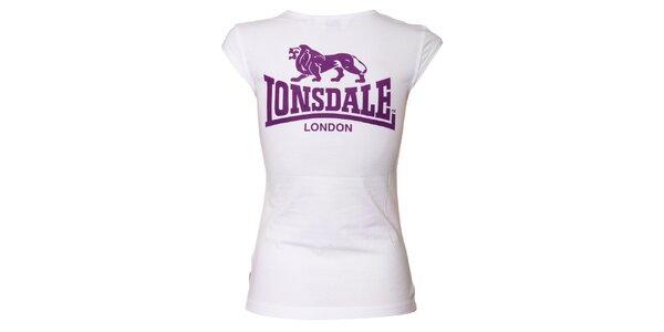 Dámske biele tričko Lonsdale s vykrojenými rukávmi