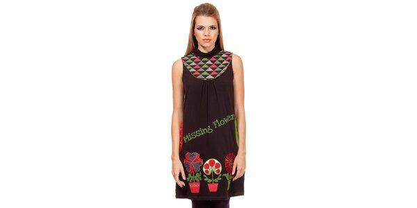 791e8cd1abd3 Dámske čierne úpletové šaty s potlačou kvetín Missing Johnny