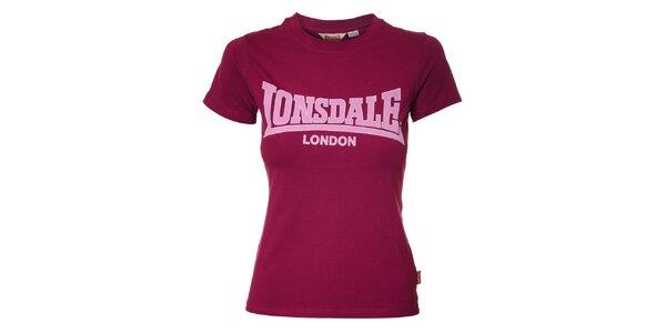 Dámske purpurové tričko Lonsdale s semišovou potlačou