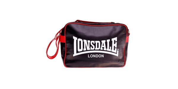 Čierna taška cez rameno Lonsdale s červeným lemom
