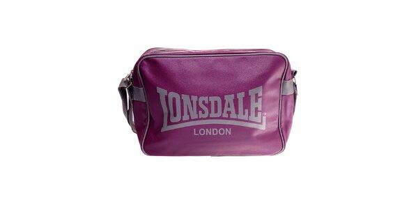Tmavo fialová taška cez rameno Lonsdale s šedým lemom