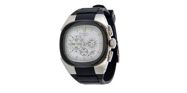 Pánske čierno-strieborné analogové hodinky Breil