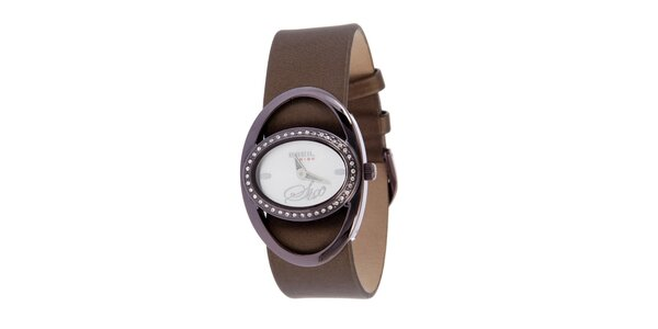 Dámske fialovo-hnedé analogové hodinky Breil