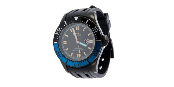 Pánske čierno-modré analogové hodinky Breil