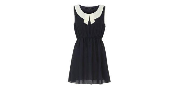 Dámske čierne šaty so svetlým límčekom Iska