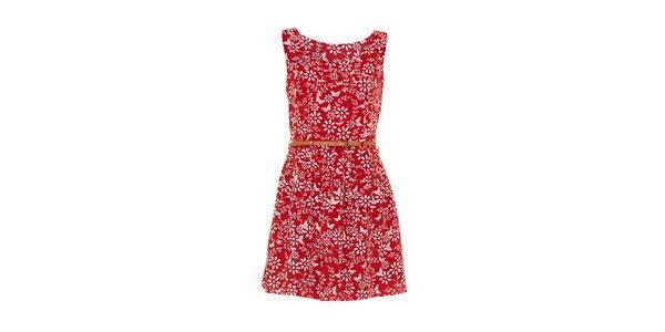 Dámske červené šaty s kvetinkami Iska