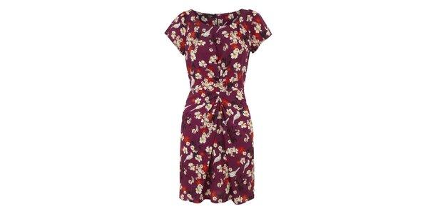 Dámske fuchsiové šaty s farebným vzorom Iska