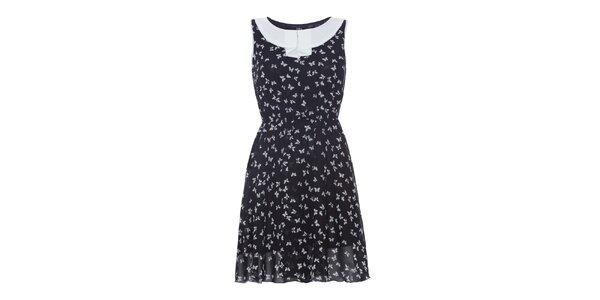 Dámske čierne šaty s bielymi motýlikmi Iska