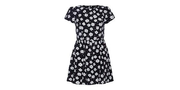 Dámske čierne šaty s bielymi kvetinkami Iska