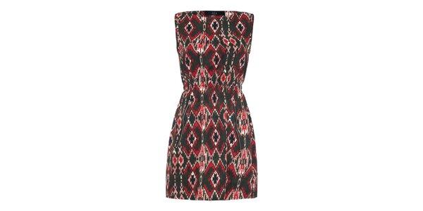 Dámske šaty so zelenočerveným vzorom Iska