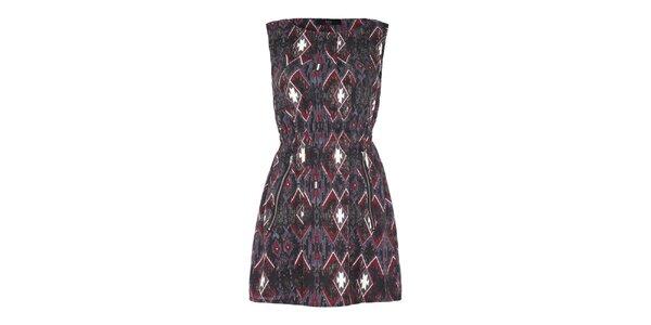 Dámske šaty so šedočerveným vzorom Iska