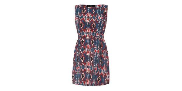 Dámske šaty s červenomodrým vzorom Iska