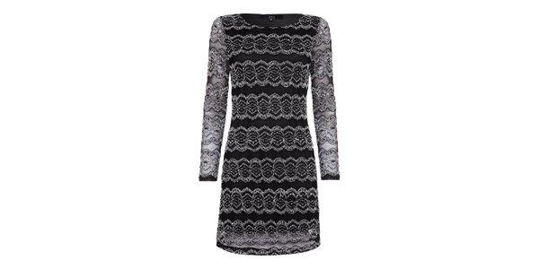 Dámske čierne šaty s bielou čipkou Iska