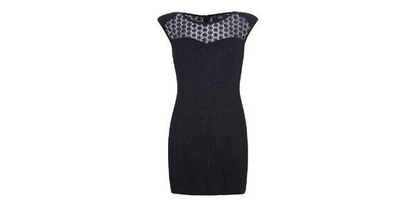 Dámske čierne šaty s čipkovanými ramenami Iska