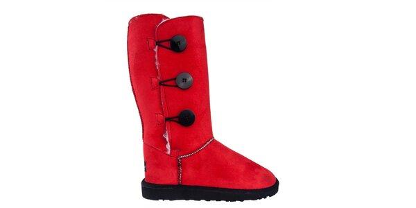 Dámske vysoké červené čižmy s gombíkmi Via Bellucci