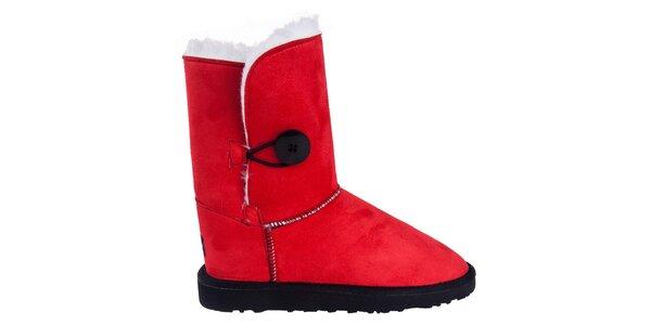 Dámske nízke červené čižmy s gombíkom Via Bellucci