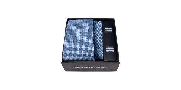 Pánska sada - modrobiele manžetové gombíky, kravata a vreckovka Giorgio di Mare