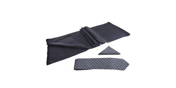 Pánska sada - šál, šedá kravata a vreckovka Giorgio di Mare