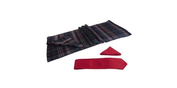 Pánska sada - kockovaný šál, červená kravata a vreckovka Giorgio di Mare