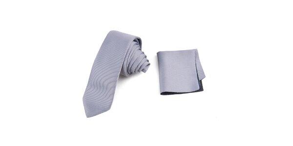 Pánska prúžkovaná sada - kravata a vreckovka Giorgio di Mare