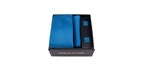 Pánska sada - modré manžetové gombíky, kravata a vreckovka Giorgio di Mare
