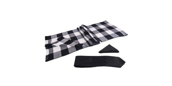 Pánska sada - čiernobielo kockovaný šál, kravata a vreckovka Giorgio di Mare