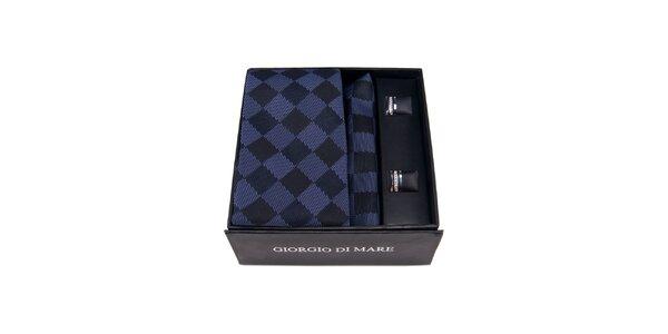 Pánska sada - manžetové gombíky, modro kockovaná kravata a vreckovka Giorgio di…