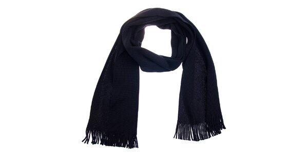 Čierna vlnená šála Fraas so strapcami