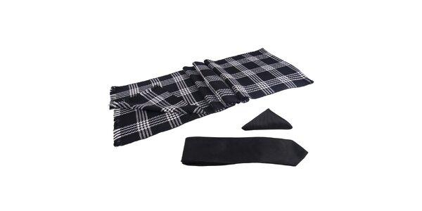 Pánska sada - čiernobiely šál, kravata a vreckovka Giorgio di Mare
