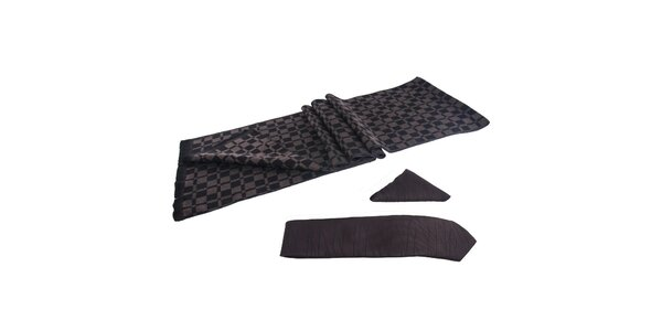 Pánska sada - čiernohnedý šál, kravata a vreckovka Giorgio di Mare