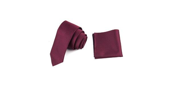 Pánska fuchsiová sada - kravata a vreckovka Giorgio di Mare
