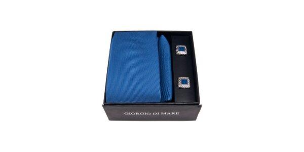 Pánska sada - modré štvorcové manžetové gombíky, kravata a vreckovka Giorgio di…