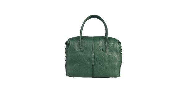 Dámska fľaškovo zelená kožená kabelka s karabínkou Made in Italia