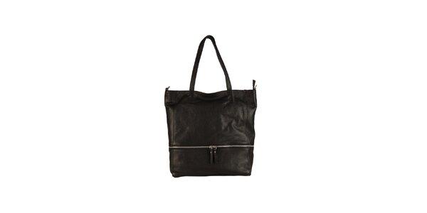 Dámska čierna kožená kabelka so zipsovým detailom Made in Italia