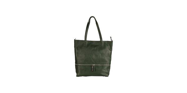 Dámska tmavo zelená kožená kabelka so zipsovým detailom Made in Italia