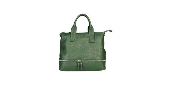 Dámska zelená kabelka s ozdobným zipsom Made in Italia