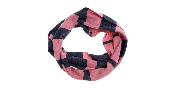 Dámska šedo-ružová kruhová šála Fraas s prúžkovaným vzorom