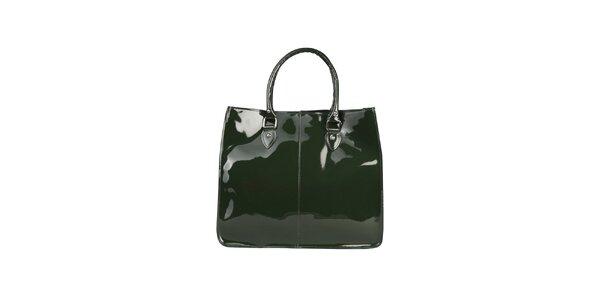 Dámska zelená lesklá hranatá kabelka Made in Italia